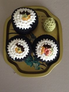 Amigurumi Crocheted California Sushi Roll by KnotYourAverageSnack, $15.00