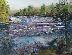 "David Little (1951-): ""East Branch Near Grindstone"", great view of the East Branch of the Penobscot with the river tumbling over the rocks, oil on board, 14"" x 18"", 900"