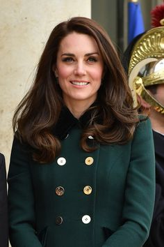 Catherine, Duchess of Cambridge poses prior a meeting with French President Francois Hollande at the Elysee Palace during day one of a visit on March 17, 2017 in Paris, France.