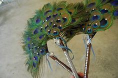DIY Peacock Feather Fan / Bouquet for Bridesmaids | Evidence Photography and Design