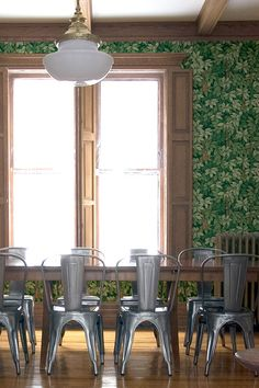 Leafy wallpapered dining room, Fornasetti Chiavi Segrete wallpaper by Cole & Son Fornasetti Wallpaper, Cafe Interior, Interior Design, Teal Paint Colors, Teal Sofa, Cole And Son Wallpaper, Open Concept Home, Oak Panels, Stunning Wallpapers