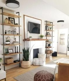 Gorgeous Modern Farmhouse Living Rooms – PapillonVintageHome #ContemporaryLivingRoomFurniture Living Room Modern, My Living Room, Home And Living, Living Room Designs, Small Living, Living Room No Fireplace, Living Room Ideas With Tv, Plants In Living Room, Living Room Bookshelves
