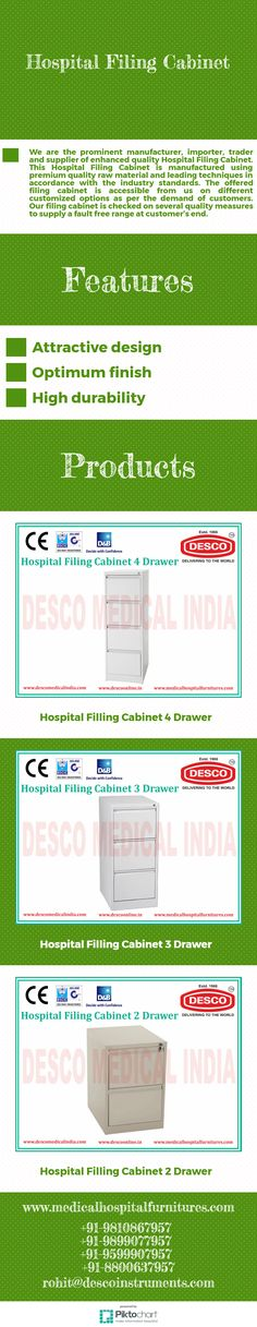 We are the prominent manufacturer, importer, trader and supplier of enhanced quality Hospital Filing Cabinet. This Hospital Filing Cabinet is manufactured using premium quality raw material and leading techniques in accordance with the industry standards.