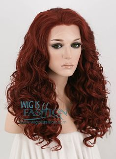 "21"" Long Curly Reddish Brown Lace Front Synthetic Hair Wig LF279 - Wig Is Fashion"