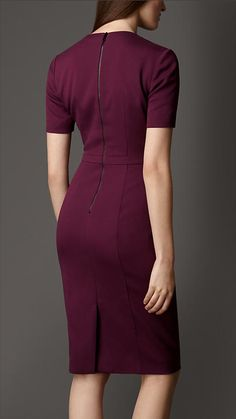 Burberry London Pleat Neck Tailored Dress