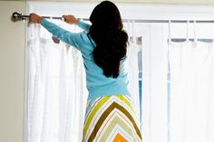 how to hang curtains, how to hang curtain rods, how to hang a curtain rod, hanging curtains