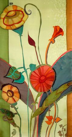 Silk Scarf Hand Painted Floral Rhapsody in Spring by FineArtSilk