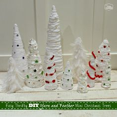 Easy Thrifty DIY Yarn and Feather Mini Christmas Trees as Our Holiday Table Centerpiece