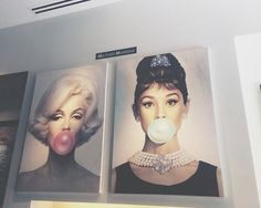 Marilyn Monroe and Audrey Hepburn bubblegum picture  I'd have a night stand on each side of my bed and place one above each night stand.