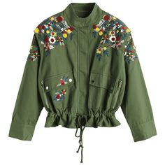 Drawstring Waist Floral Embroidered Jacket ($44) ❤ liked on Polyvore featuring outerwear, jackets, olive green jacket, green jacket, olive jacket, floral embroidered jacket and green camo jacket