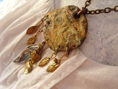 OOAK Rustic large  medallion shape clay by TheEnglishEclectic, $65.00