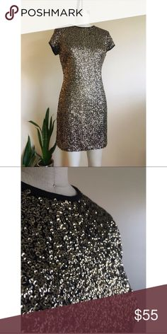 """Gold Dress Trendy ! Gold sequin dress ! Sequin is a trend ! This dress is beautiful ! I worn it once, received lots of complains ! Very comfy, sexy and elegant yet! It stretches, can fit 8-10 size. It  drapes nicely in a 6 size!  Chest: 37"""", waist: 34"""", hips: 40"""", hem: 43"""", length: 32"""", ( from center front neckline to hem) Dresses Mini"""