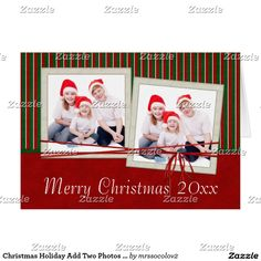 Christmas Holiday Add Two Photos Greeting Card Scrapbook Christmas Cards, Custom Christmas Cards, Christmas Greeting Cards, Christmas Photos, Christmas Holidays, Photo Cards, Photo Greeting Cards, Holiday Essentials, Custom Photo