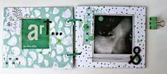 rosa verdosa. scrapbook. mini album. black. white. green SODAlicious