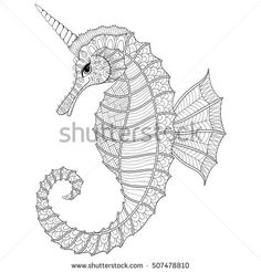 Zentangle stylized black Sea Horse like Unicorn. Hand Drawn vector illustration for adult coloring books, pages. Sea animal isolated on white background. Sketch for tattoo or makhenda. Sea collection.