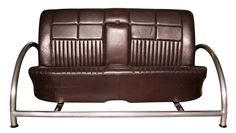 Leather Sofa Upcycled from 1960's Zodiac car