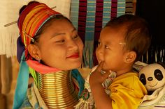 "Northern Thailand |  Padaung or ""long-neck' woman with her son  © mkelpie, via PBase"