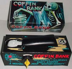 The Coffin Bank, also sold as Spooky Bank. Purchased from Johnson Smith Co. catalog.