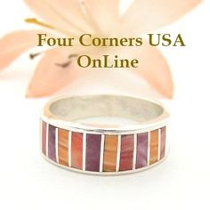 Four Corners USA Online - Size 6 1/2 Multi Color Spiny Oyster Shell Inlay Band Ring Native American Ella Cowboy Silver Jewelry WB-1506, $121.00 (http://stores.fourcornersusaonline.com/size-6-1-2-multi-color-spiny-oyster-shell-inlay-band-ring-native-american-ella-cowboy-silver-jewelry-wb-1506/)