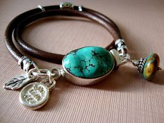 turquoise leather sterling silver wrap bracelet!