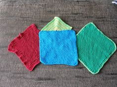 Some of my cotton yarn washcloths. My favorite, the knit diagonal pattern.  Cast on 3, knit all the way, increase one st each row until side is 8 in (20mm) continue knitting, decrease one st each row until at 3, cast off. So easy. I use 8 (5mm) needle, but I have a loose stitch. You might need a bigger needle if you have a tight stitch.