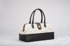Black and white handbag with scrabble tiles pattern ~ by Pink Tulips - Magnolia