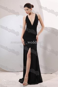 Sexy Deep V-neck Black Evening Gowns Elegant Mermaid Style Designer Prom Formal Dresses Party Gowns