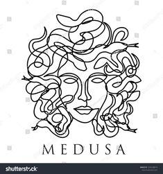 medusa face continuous single line style isolated on white - ink - Medusa Tattoo Design, Medusa Drawing, Medusa Art, Line Art Tattoos, Cute Tattoos, Hand Tattoos, Tatoos, Tattoo Sketches, Tattoo Drawings