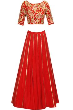 Red embroidered lehenga set available only at Pernia's Pop Up Shop.