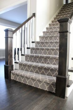 Looking for Modern Stair Railing Ideas? Check out our photo gallery of Modern Stair Railing Ideas Here. Looking for Modern Stair Railing Ideas? Check out our photo gallery of Modern Stair Railing Ideas Here. Carpet Staircase, Staircase Remodel, Staircase Makeover, Carpet For Stairs, Open Staircase, Pattern Carpet On Stairs, Hall Carpet, Carpet Runner On Stairs, Staircase Runner