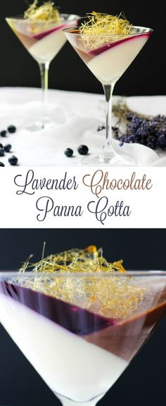 Looking for fancy Desserts? This EPIC Lavender-Chocolate Panna Cotta is sure to become your favorite Italian dessert! It's absolutely mouthwatering and makes one of the best homemade fancy dessert recipes! Mini Desserts, Easy To Make Desserts, Gourmet Desserts, Italian Desserts, Plated Desserts, Chocolate Desserts, Delicious Desserts, Dessert Recipes, Blueberry Chocolate