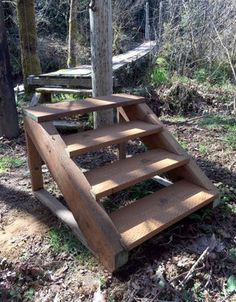 Landscape Stairs, House Landscape, Wood Stairs, Attic Stairs, Outside Steps, How To Build Steps, Pool Steps, Building Stairs, Outdoor Steps