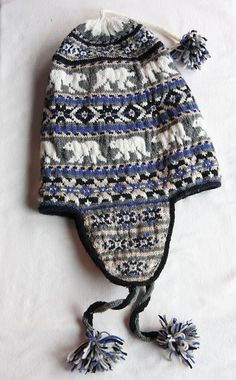 Barry lost his chullo at school and so he asked me to knit him a new one. I'm planning on lining it after it is knitted, j. Knitted Mittens Pattern, Knit Mittens, Knitted Hats, Knitting Patterns, Crochet Santa Hat, Knit Crochet, Crochet Hats, Ravelry, Fair Isle Knitting