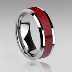Tungsten and Red Carbon Fiber Men's Ring
