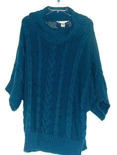 Jillian Nicole Short Sleve Blue 3x Sweater #JillianNicole #CowlNeck