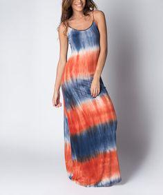 Navy & Orange Tie-Dye Sleeveless Maxi Dress by Paradise USA Fashion #zulily #zulilyfinds