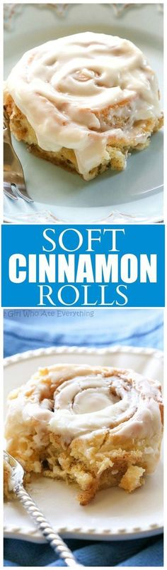 Soft Cinnamon Rolls - no-fail cinnamon rolls that are so soft and covered with cream cheese frosting. http://the-girl-who-ate-everything.com