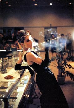 "Audrey Hepburn at Tiffany & Co. for ""Breakfast at Tiffany's"", 1961."