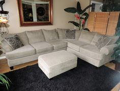 MicroFiber Three Piece Sectional Sofa Set with Ottoman*WE SHIP ANYWHERE* #Traditional