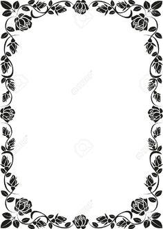 j Frame Border Design, Boarder Designs, Page Borders Design, Stencil Designs, Borders For Paper, Borders And Frames, Barbie Invitations, Floral Frames, Line Doodles