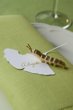 Pro DIY Project: David Stark's Golden Caterpillar Place Cards- Gold Leaf over plastic toy!