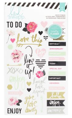 Heidi Swapp - Hello Beautiful Collection - Memory Planner - Sheer Stickers - Words and Icons at Scrapbook.com