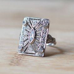 - Art Deco Marquise Diamond Ring – Art Deco Engagement Ring – Vintage Engagement Ring – S - Bezel Diamond Rings, Round Cut Diamond Rings, Art Deco Diamond Rings, Antique Diamond Rings, Art Deco Ring, Art Deco Jewelry, Marquise Diamond, Marquise Cut, Diamond Art