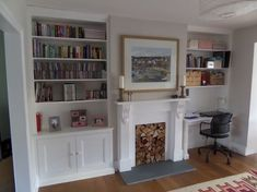 by exeter based carpenter specialising in alcove units and built in storage Alcove Ideas Living Room, Built In Shelves Living Room, Desk In Living Room, Built In Desk, Home And Living, Living Room Decor, Room Ideas, Dining Room Playroom Combo, Built Ins