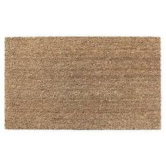 """Add a functional, natural accent to your decor with the Room Essentials Coir Door Mat in Beige. This easy-to-coordinate welcome mat features a durable PVC back and a natural coir front that's perfect for wiping shoes. In natural beige. The floor mat measures 1'6""""x2'6""""."""