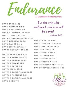 Endurance 31 Day Bible Reading Plan Are you enduring a tough life situation? Use this Endurance 31 day Bible reading plan for the strength that only comes from the Lord. Bible Study Plans, Bible Study Notebook, Bible Plan, Bible Study Tips, Bible Lessons, Bible Reading Plans, Bible Journal, Scripture Reading, Scripture Study