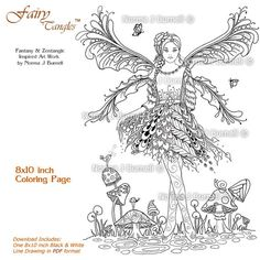 forest fairy guardian owl bunny grayscale fairy tangles printable coloring sheet digital coloring pages norma j burnell fairies for adults pinterest