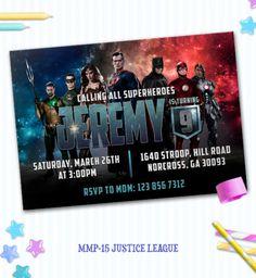 Justice League Invite, Justice League Birthday, SuperHero Party,mmp-15