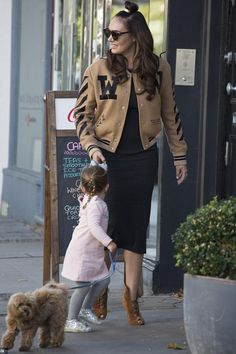Tamara Ecclestone wearing Off-White Varsity Bomber Jacket and Gianvito Rossi Jane Peep-Toe Suede Boots