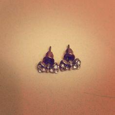 Bow Earrings Beautiful little bow earrings with faux diamonds! Jewelry Earrings